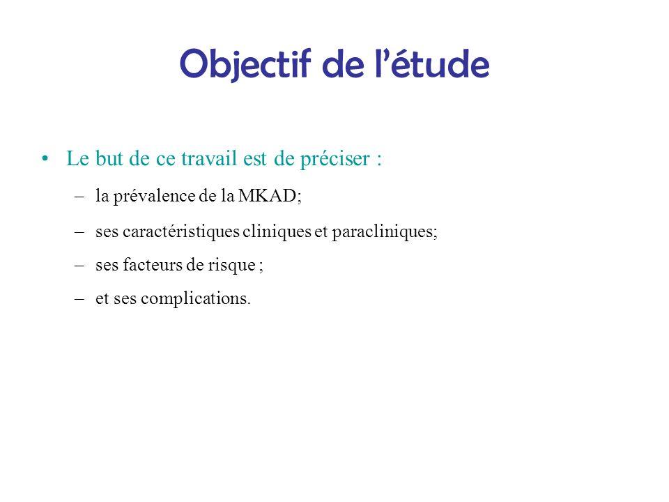 Objectif de létude Le but de ce travail est de préciser : –la prévalence de la MKAD; –ses caractéristiques cliniques et paracliniques; –ses facteurs d