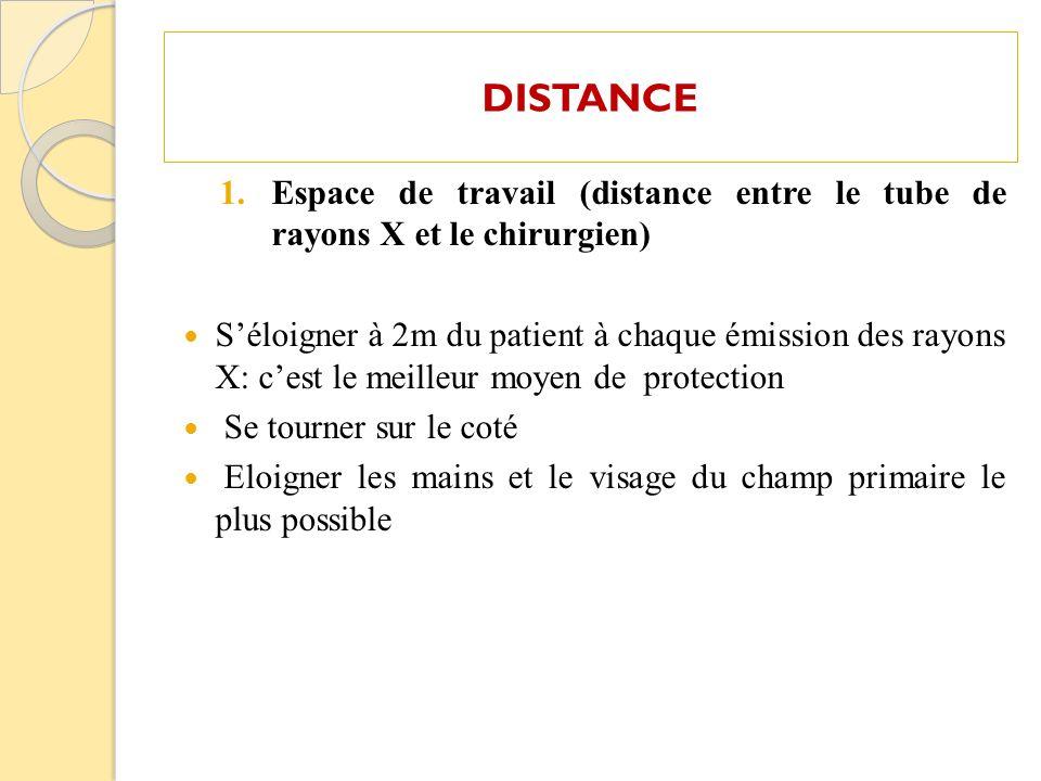 DISTANCE 1.Espace de travail (distance entre le tube de rayons X et le chirurgien) Séloigner à 2m du patient à chaque émission des rayons X: cest le m