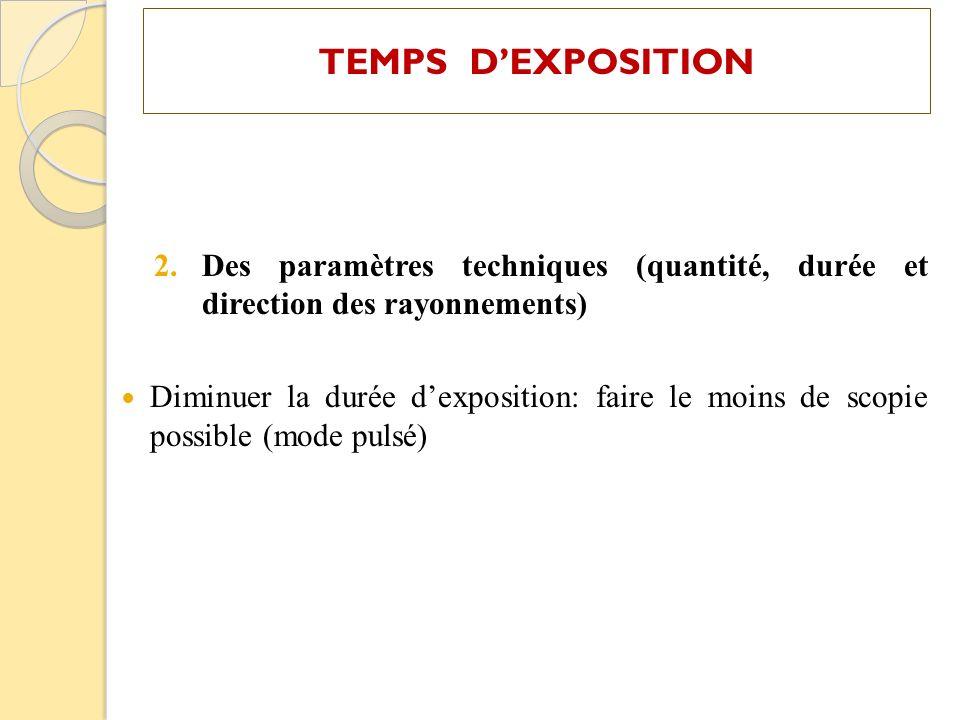 TEMPS DEXPOSITION 2.Des paramètres techniques (quantité, durée et direction des rayonnements) Diminuer la durée dexposition: faire le moins de scopie