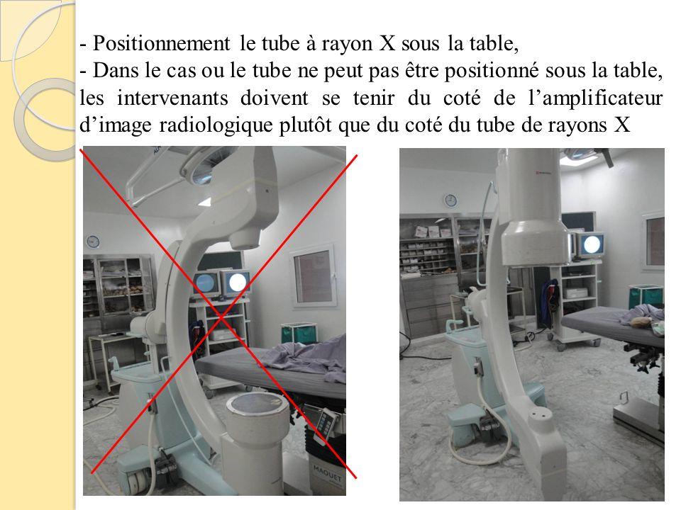 - Positionnement le tube à rayon X sous la table, - Dans le cas ou le tube ne peut pas être positionné sous la table, les intervenants doivent se teni