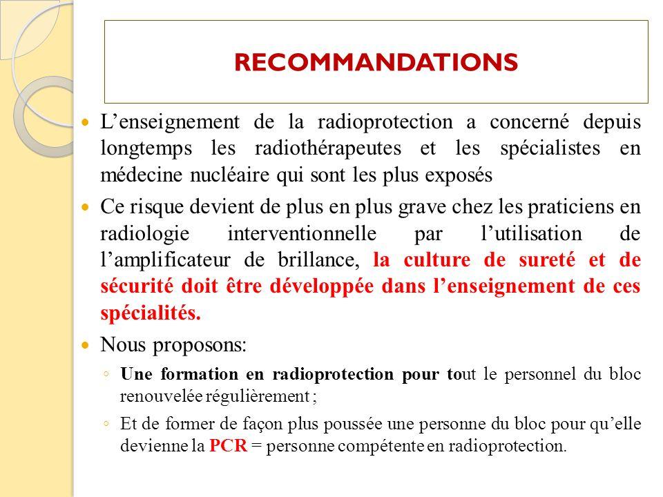 Lenseignement de la radioprotection a concerné depuis longtemps les radiothérapeutes et les spécialistes en médecine nucléaire qui sont les plus expos