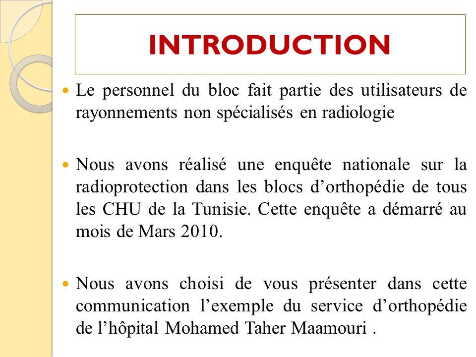 Le personnel du bloc fait partie des utilisateurs de rayonnements non spécialisés en radiologie Nous avons réalisé une enquête nationale sur la radiop