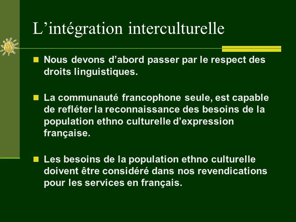 Lintégration interculturelle Nous devons dabord passer par le respect des droits linguistiques.