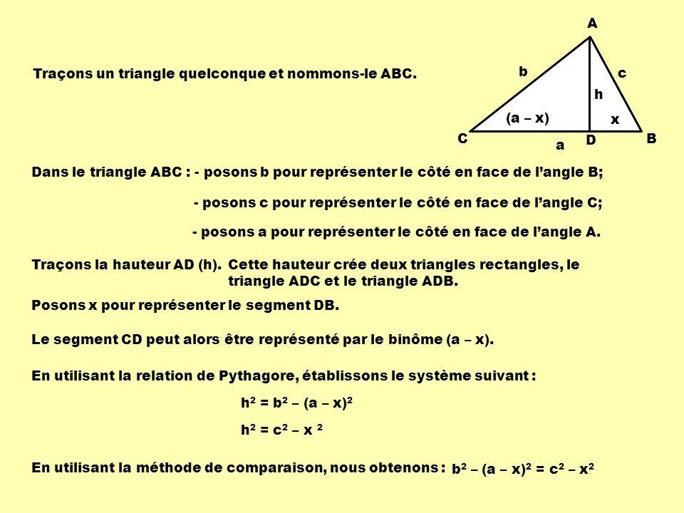 A CB (a – x) x c b a h D Dans le triangle ABC : - posons b pour représenter le côté en face de langle B; Cette hauteur crée deux triangles rectangles,