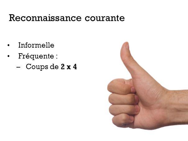 Informelle Fréquente : 2 x 4 –Coups de 2 x 4 Reconnaissance courante