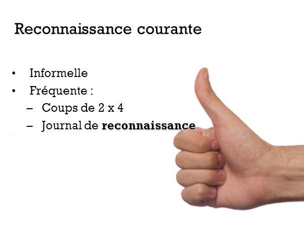 Informelle Fréquente : –Coups de 2 x 4 reconnaissance –Journal de reconnaissance. Reconnaissance courante
