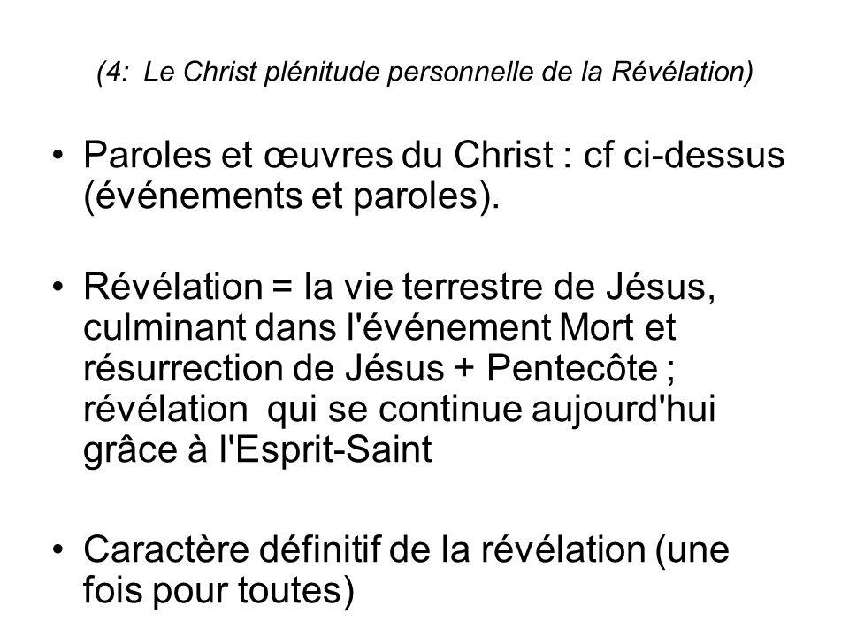 (4: Le Christ plénitude personnelle de la Révélation) Paroles et œuvres du Christ : cf ci-dessus (événements et paroles).