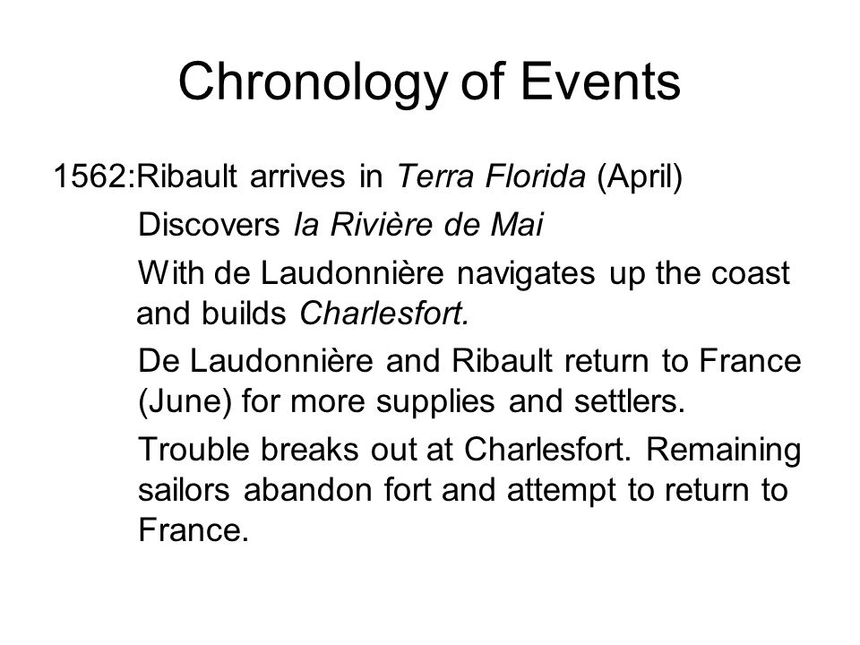 Chronology of Events 1563: Ribault seeks help in England and is jailed as a spy.