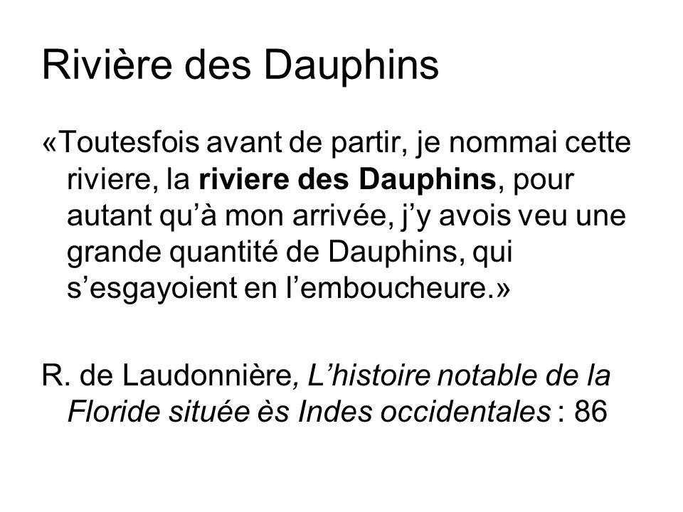 Rivière des Dauphins «Toutesfois avant de partir, je nommai cette riviere, la riviere des Dauphins, pour autant quà mon arrivée, jy avois veu une grande quantité de Dauphins, qui sesgayoient en lemboucheure.» R.