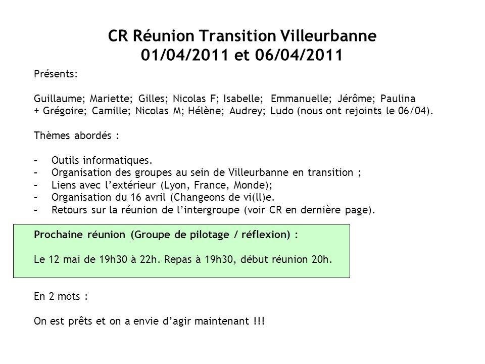 CR Réunion Transition Villeurbanne 01/04/2011 et 06/04/2011 Présents: Guillaume; Mariette; Gilles; Nicolas F; Isabelle; Emmanuelle; Jérôme; Paulina + Grégoire; Camille; Nicolas M; Hélène; Audrey; Ludo (nous ont rejoints le 06/04).