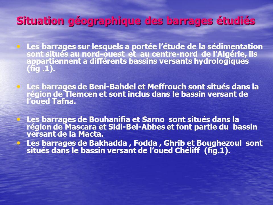 Situation géographique des barrages étudiés Les barrages sur lesquels a portée létude de la sédimentation sont situés au nord-ouest et au centre-nord de lAlgérie, ils appartiennent a différents bassins versants hydrologiques (fig.1).
