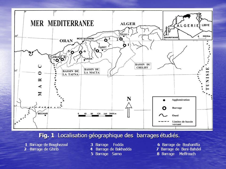 Fig.1 Localisation géographique des barrages étudiés.