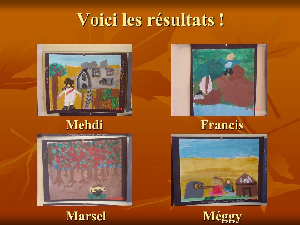 Voici les résultats ! Mehdi Marsel Francis Méggy