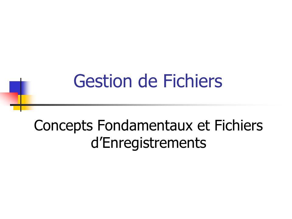 Gestion de Fichiers Concepts Fondamentaux et Fichiers dEnregistrements