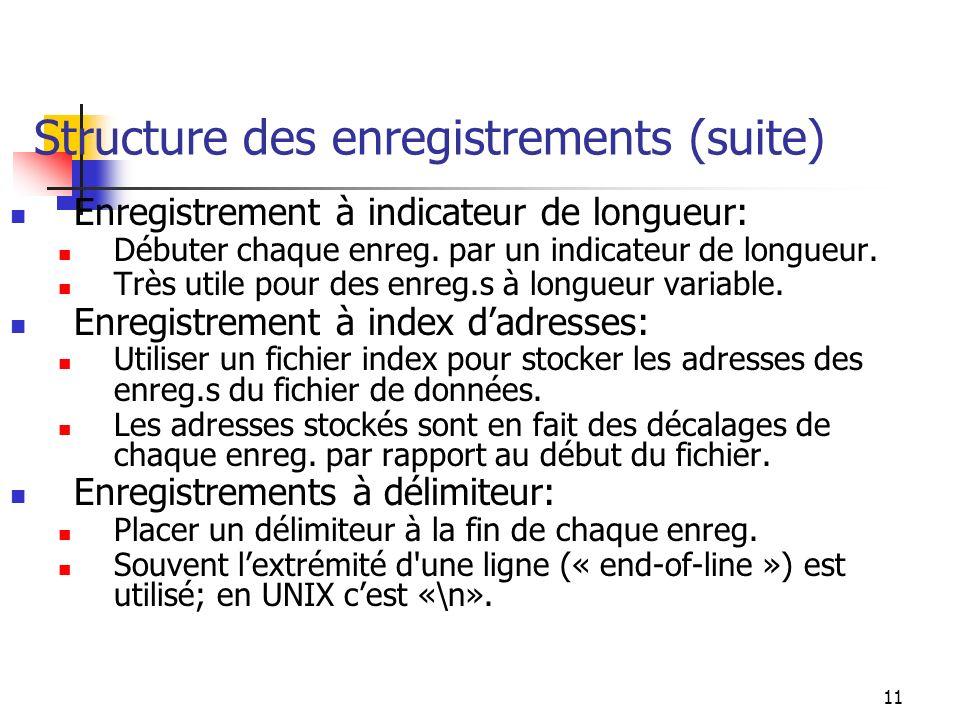 11 Structure des enregistrements (suite) Enregistrement à indicateur de longueur: Débuter chaque enreg.