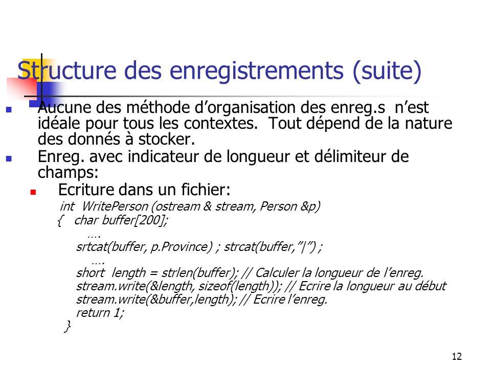 12 Structure des enregistrements (suite) Aucune des méthode dorganisation des enreg.s nest idéale pour tous les contextes.
