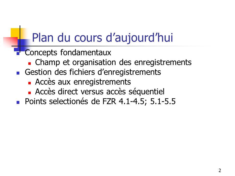 2 Plan du cours daujourdhui Concepts fondamentaux Champ et organisation des enregistrements Gestion des fichiers denregistrements Accès aux enregistrements Accès direct versus accès séquentiel Points selectionés de FZR 4.1-4.5; 5.1-5.5
