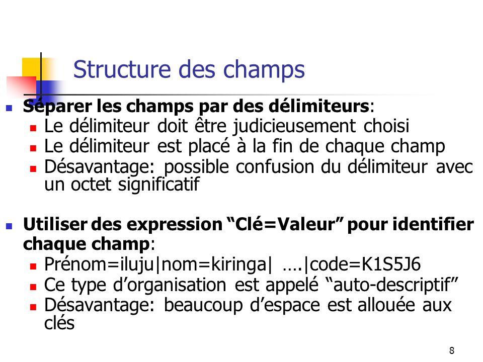 8 Structure des champs Séparer les champs par des délimiteurs: Le délimiteur doit être judicieusement choisi Le délimiteur est placé à la fin de chaque champ Désavantage: possible confusion du délimiteur avec un octet significatif Utiliser des expression Clé=Valeur pour identifier chaque champ: Prénom=iluju|nom=kiringa| ….|code=K1S5J6 Ce type dorganisation est appelé auto-descriptif Désavantage: beaucoup despace est allouée aux clés
