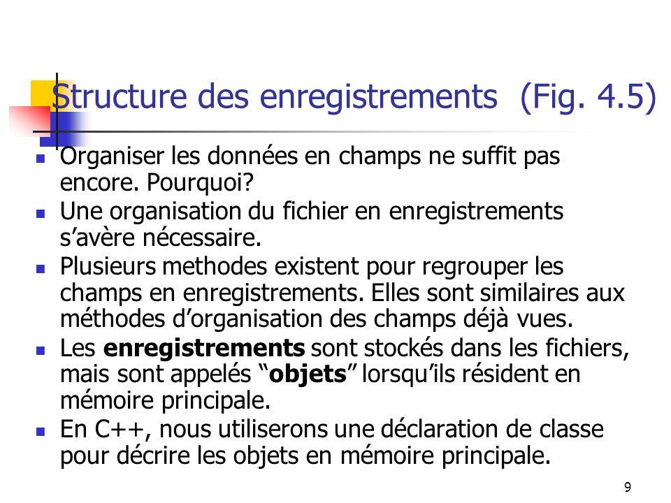 9 Structure des enregistrements (Fig. 4.5) Organiser les données en champs ne suffit pas encore.