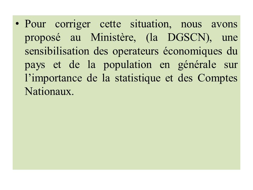 Pour corriger cette situation, nous avons proposé au Ministère, (la DGSCN), une sensibilisation des operateurs économiques du pays et de la population en générale sur limportance de la statistique et des Comptes Nationaux.