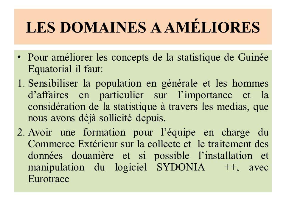 LES DOMAINES A AMÉLIORES Pour améliorer les concepts de la statistique de Guinée Equatorial il faut: 1.Sensibiliser la population en générale et les hommes daffaires en particulier sur limportance et la considération de la statistique à travers les medias, que nous avons déjà sollicité depuis.