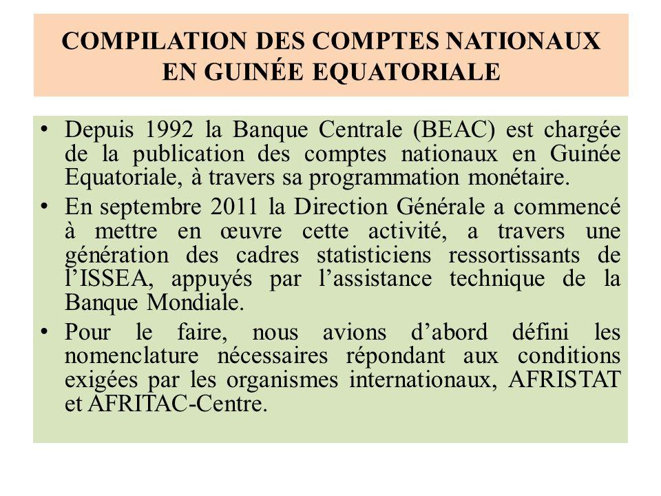 COMPILATION DES COMPTES NATIONAUX EN GUINÉE EQUATORIALE Depuis 1992 la Banque Centrale (BEAC) est chargée de la publication des comptes nationaux en Guinée Equatoriale, à travers sa programmation monétaire.