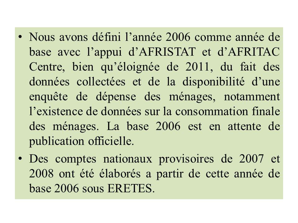 Nous avons défini lannée 2006 comme année de base avec lappui dAFRISTAT et dAFRITAC Centre, bien quéloignée de 2011, du fait des données collectées et de la disponibilité dune enquête de dépense des ménages, notamment lexistence de données sur la consommation finale des ménages.