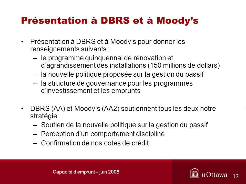 Capacité demprunt – juin 2008 12 Présentation à DBRS et à Moodys Présentation à DBRS et à Moodys pour donner les renseignements suivants : –le program