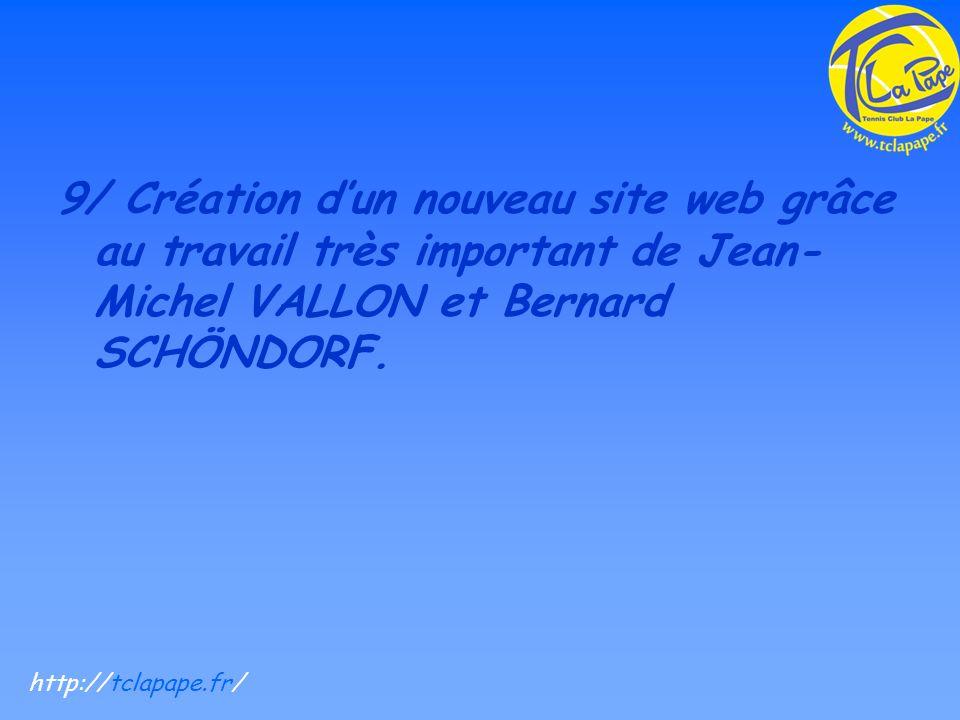 9/ Création dun nouveau site web grâce au travail très important de Jean- Michel VALLON et Bernard SCHÖNDORF.