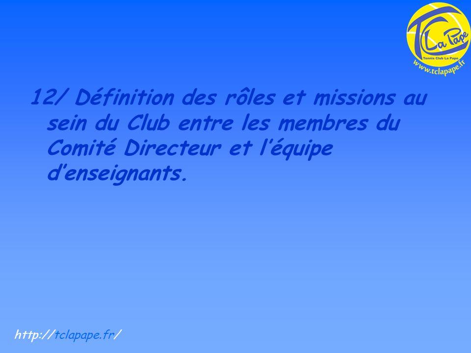 12/ Définition des rôles et missions au sein du Club entre les membres du Comité Directeur et léquipe denseignants.