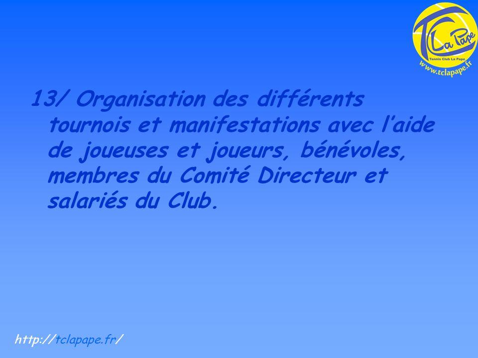 13/ Organisation des différents tournois et manifestations avec laide de joueuses et joueurs, bénévoles, membres du Comité Directeur et salariés du Club.