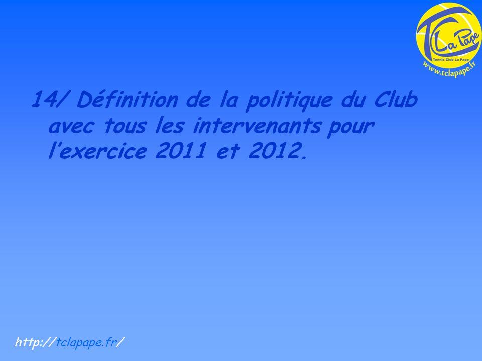 14/ Définition de la politique du Club avec tous les intervenants pour lexercice 2011 et 2012.