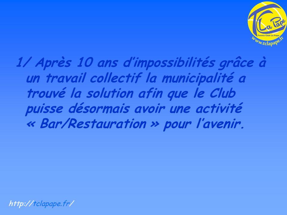 1/ Après 10 ans dimpossibilités grâce à un travail collectif la municipalité a trouvé la solution afin que le Club puisse désormais avoir une activité « Bar/Restauration » pour lavenir.