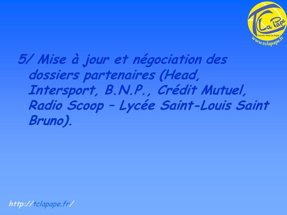 5/ Mise à jour et négociation des dossiers partenaires (Head, Intersport, B.N.P., Crédit Mutuel, Radio Scoop – Lycée Saint-Louis Saint Bruno).