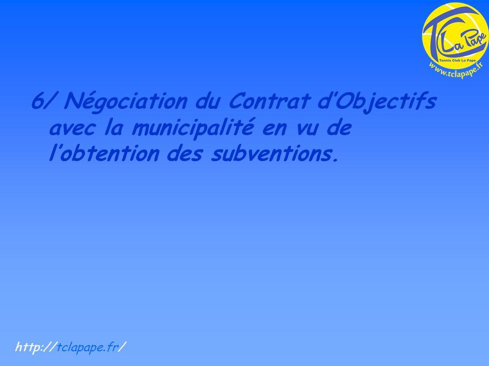 6/ Négociation du Contrat dObjectifs avec la municipalité en vu de lobtention des subventions.