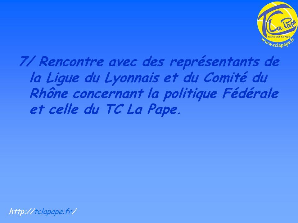 7/ Rencontre avec des représentants de la Ligue du Lyonnais et du Comité du Rhône concernant la politique Fédérale et celle du TC La Pape.