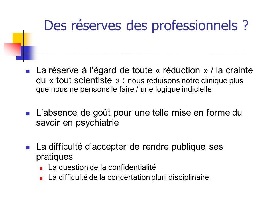 Des réserves des professionnels ? La réserve à légard de toute « réduction » / la crainte du « tout scientiste » : nous réduisons notre clinique plus