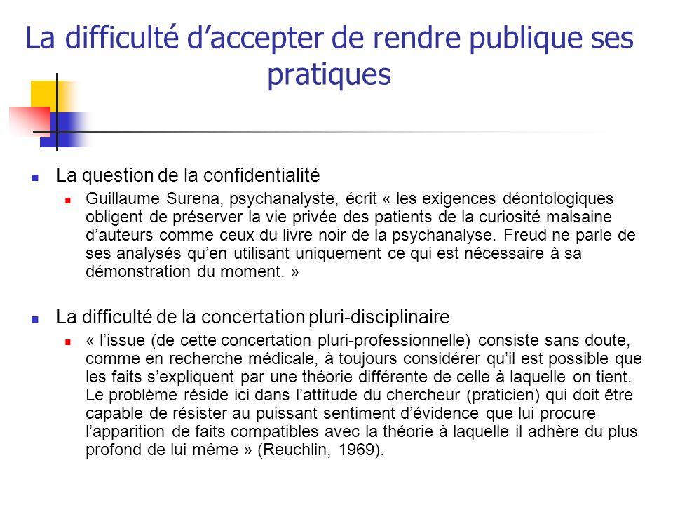 La difficulté daccepter de rendre publique ses pratiques La question de la confidentialité Guillaume Surena, psychanalyste, écrit « les exigences déon
