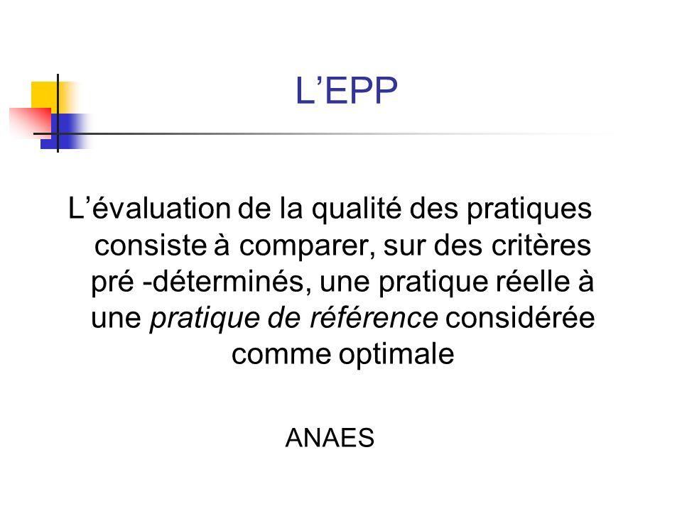LEPP Lévaluation de la qualité des pratiques consiste à comparer, sur des critères pré -déterminés, une pratique réelle à une pratique de référence co