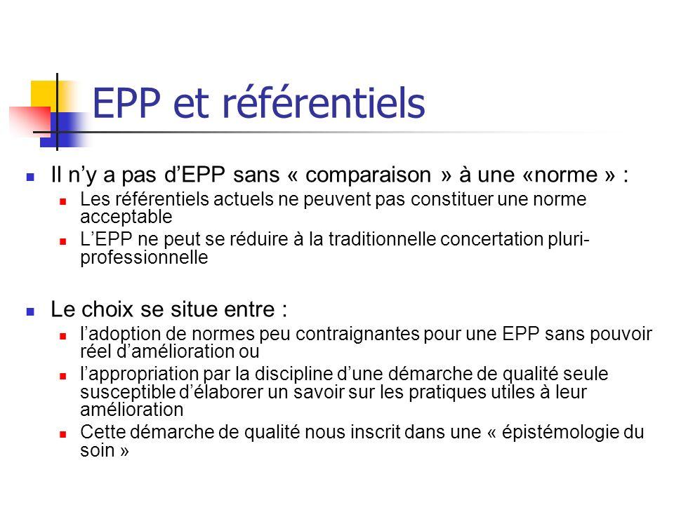 EPP et référentiels Il ny a pas dEPP sans « comparaison » à une «norme » : Les référentiels actuels ne peuvent pas constituer une norme acceptable LEP