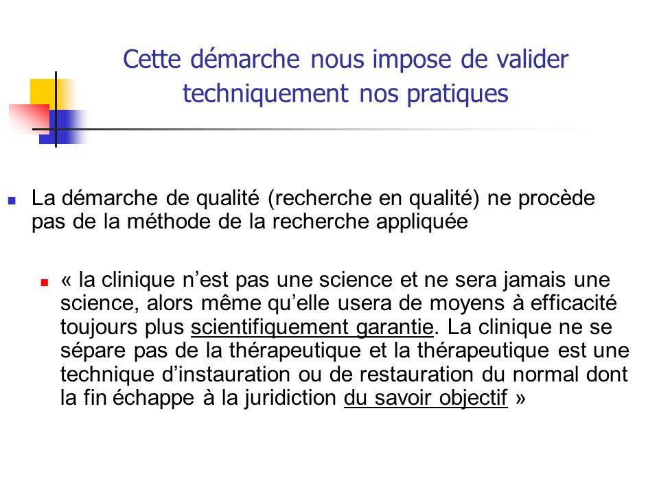 Cette démarche nous impose de valider techniquement nos pratiques La démarche de qualité (recherche en qualité) ne procède pas de la méthode de la rec