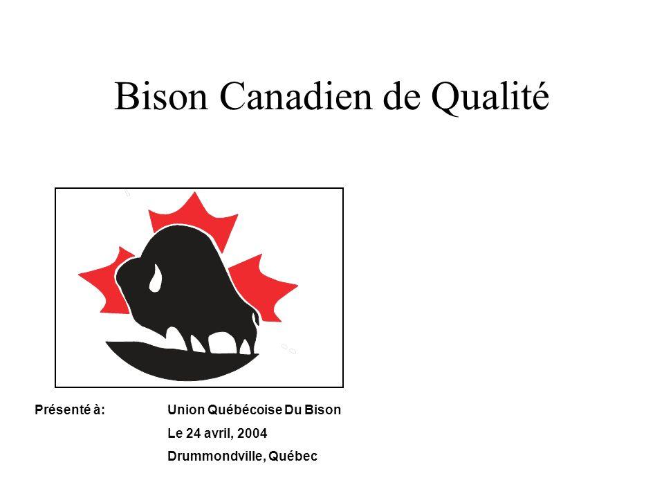 Bison Canadien de Qualité Présenté à:Union Québécoise Du Bison Le 24 avril, 2004 Drummondville, Québec