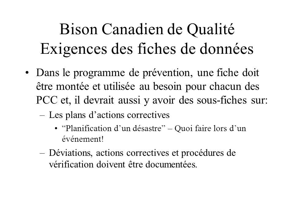 Bison Canadien de Qualité Exigences des fiches de données Dans le programme de prévention, une fiche doit être montée et utilisée au besoin pour chacun des PCC et, il devrait aussi y avoir des sous-fiches sur: –Les plans dactions correctives Planification dun désastre – Quoi faire lors dun événement.