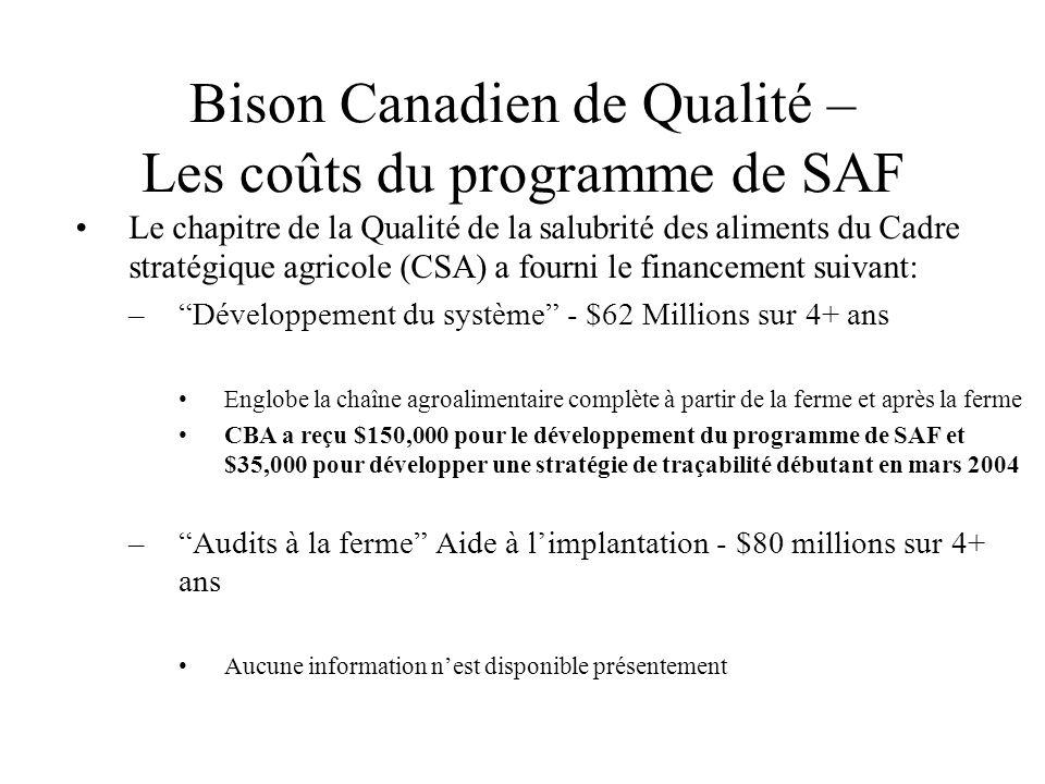 Bison Canadien de Qualité – Les coûts du programme de SAF Le chapitre de la Qualité de la salubrité des aliments du Cadre stratégique agricole (CSA) a fourni le financement suivant: –Développement du système - $62 Millions sur 4+ ans Englobe la chaîne agroalimentaire complète à partir de la ferme et après la ferme CBA a reçu $150,000 pour le développement du programme de SAF et $35,000 pour développer une stratégie de traçabilité débutant en mars 2004 –Audits à la ferme Aide à limplantation - $80 millions sur 4+ ans Aucune information nest disponible présentement