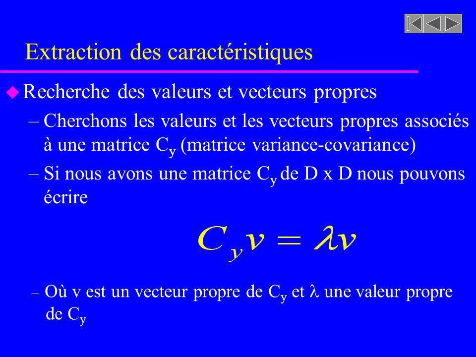 Extraction des caractéristiques u Recherche des valeurs et vecteurs propres –Cherchons les valeurs et les vecteurs propres associés à une matrice C y