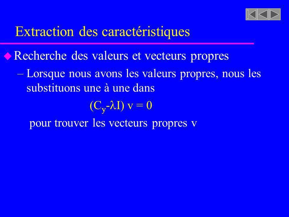 Extraction des caractéristiques u Recherche des valeurs et vecteurs propres –Lorsque nous avons les valeurs propres, nous les substituons une à une da
