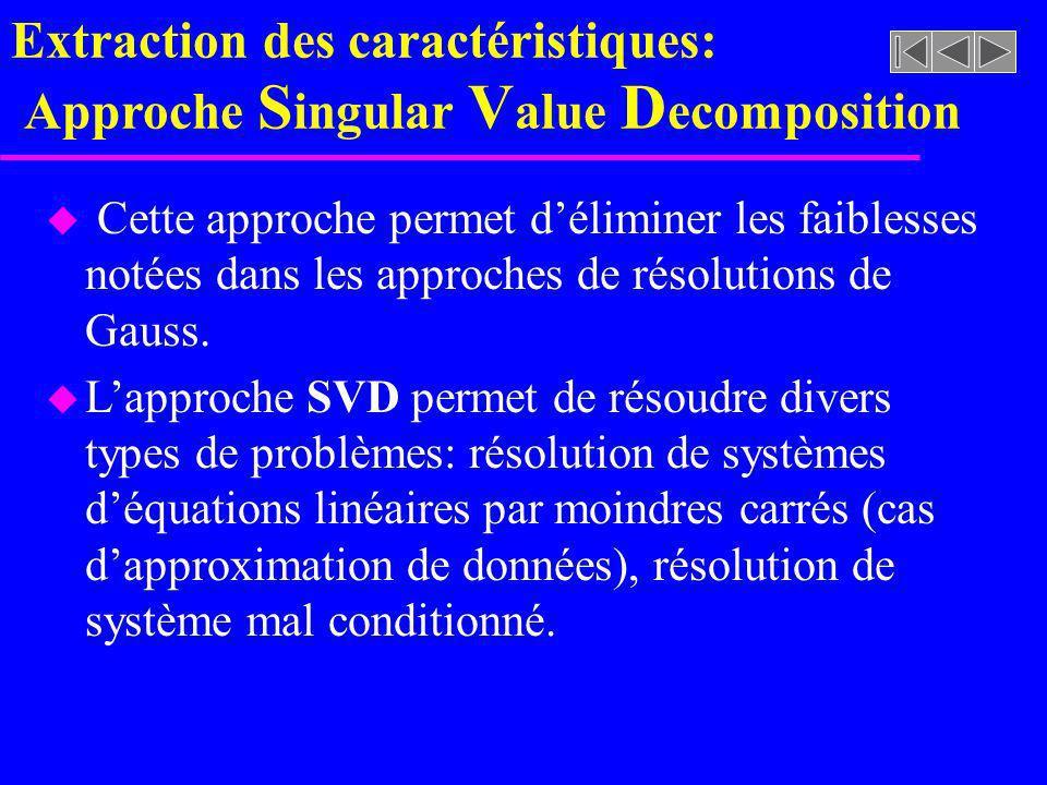 Extraction des caractéristiques: Approche S ingular V alue D ecomposition u Cette approche permet déliminer les faiblesses notées dans les approches d