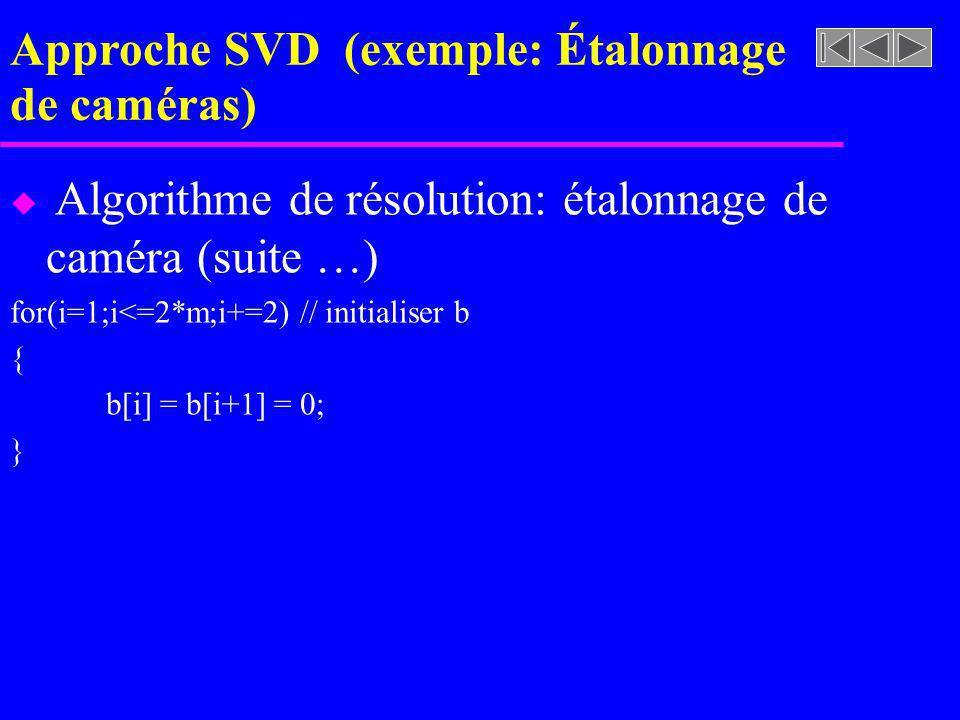 Approche SVD (exemple: Étalonnage de caméras) u Algorithme de résolution: étalonnage de caméra (suite …) for(i=1;i<=2*m;i+=2) // initialiser b { b[i]