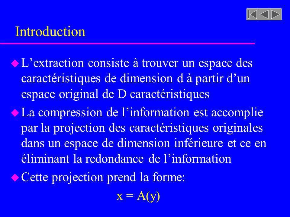 Introduction u Lextraction consiste à trouver un espace des caractéristiques de dimension d à partir dun espace original de D caractéristiques u La co
