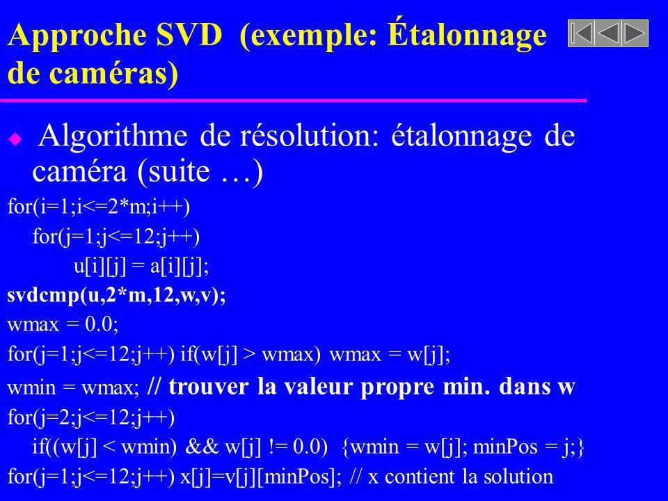 Approche SVD (exemple: Étalonnage de caméras) u Algorithme de résolution: étalonnage de caméra (suite …) for(i=1;i<=2*m;i++) for(j=1;j<=12;j++) u[i][j